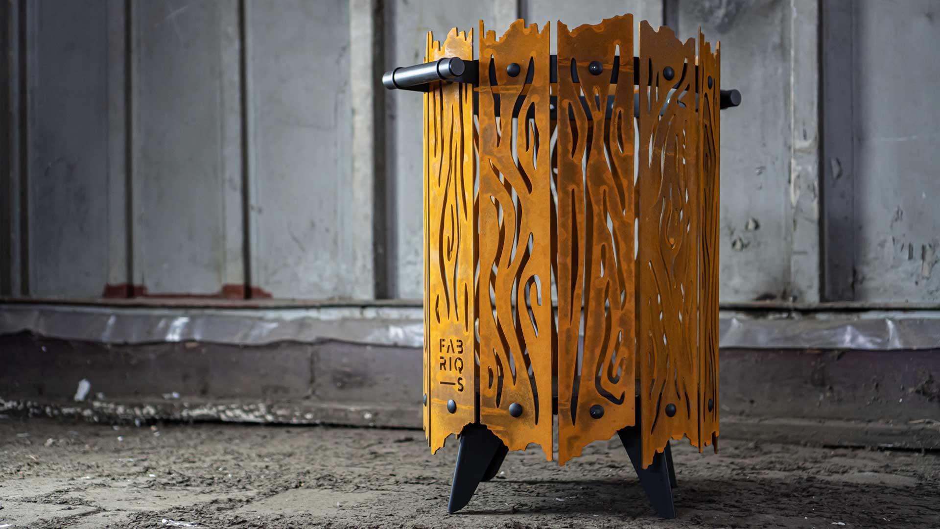 Bijzondere vuurkorf design - the roast - Fabriq-S staal design sfeerbeeld