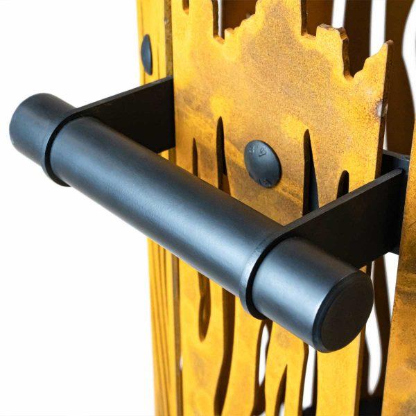 Design vuurkorf Cortenstaal - the roast - Fabriq-S - Detailfoto 4 - handvat zwart