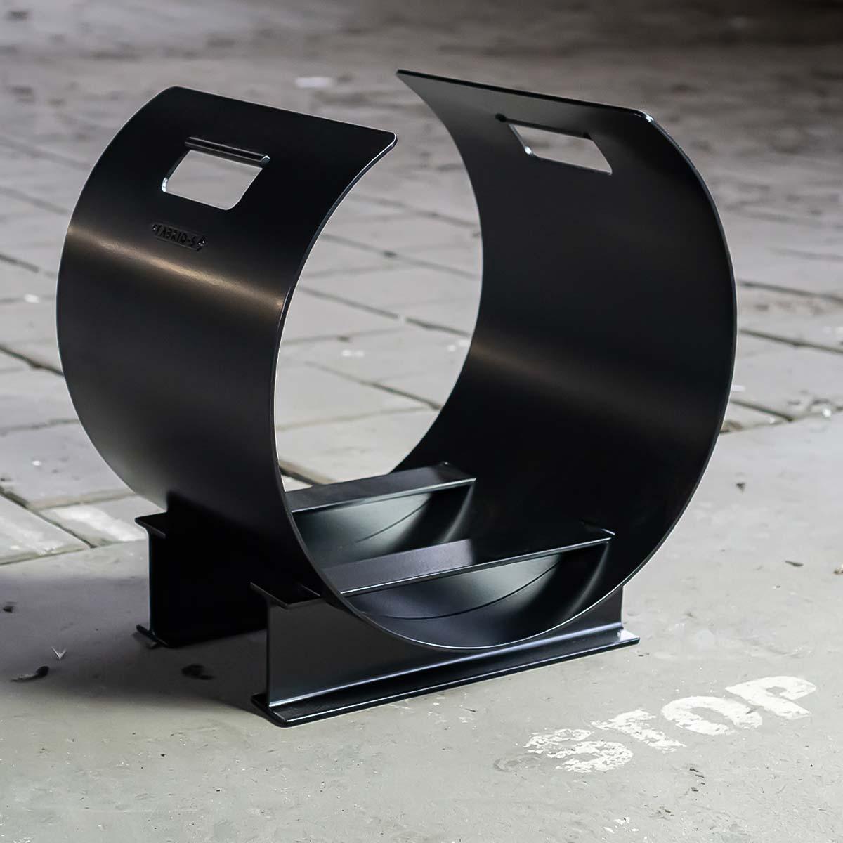 Houtopslag design zwart staal - mooie houtopslag THE BLOCKZ - FABRIQ-S - sfeerfoto full image MOBILE